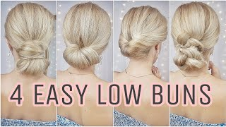 4 EASY LOW MEŠSY BUN HAIRSTYLES 🌸 MEDIUM AND LONG HAIRSTYLES