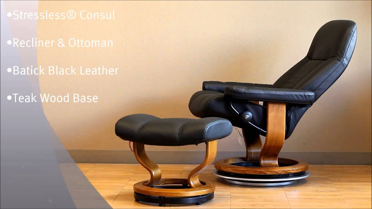 Stressless Consul Recliner And Ottoman In Batick Black Leather And Teak  Wood Base By Ekornes