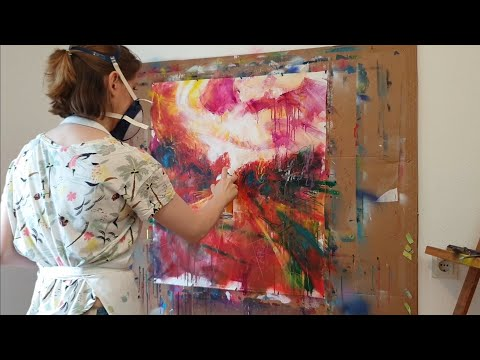 How to create a Abstract Landscape Painting with Acrylic Inks, Spray Paint. Full Art Making Process!