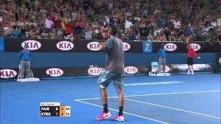 Australian Open: Nick Kyrgios' epic set saving shot - 2014 Australian Open