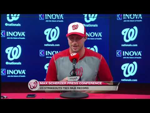 Max Scherzer meets the media after historic 20-strikeout game