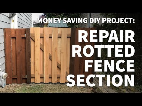 How to Repair and Replace Wooden Fence Section Panel Only – Fix Rotted Leaning Alternating Slats