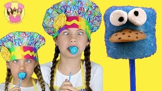Cookie Monster Pops - Sesame Street Marshmallow Pops - Kids How To Baking With Charliscraftykitchen