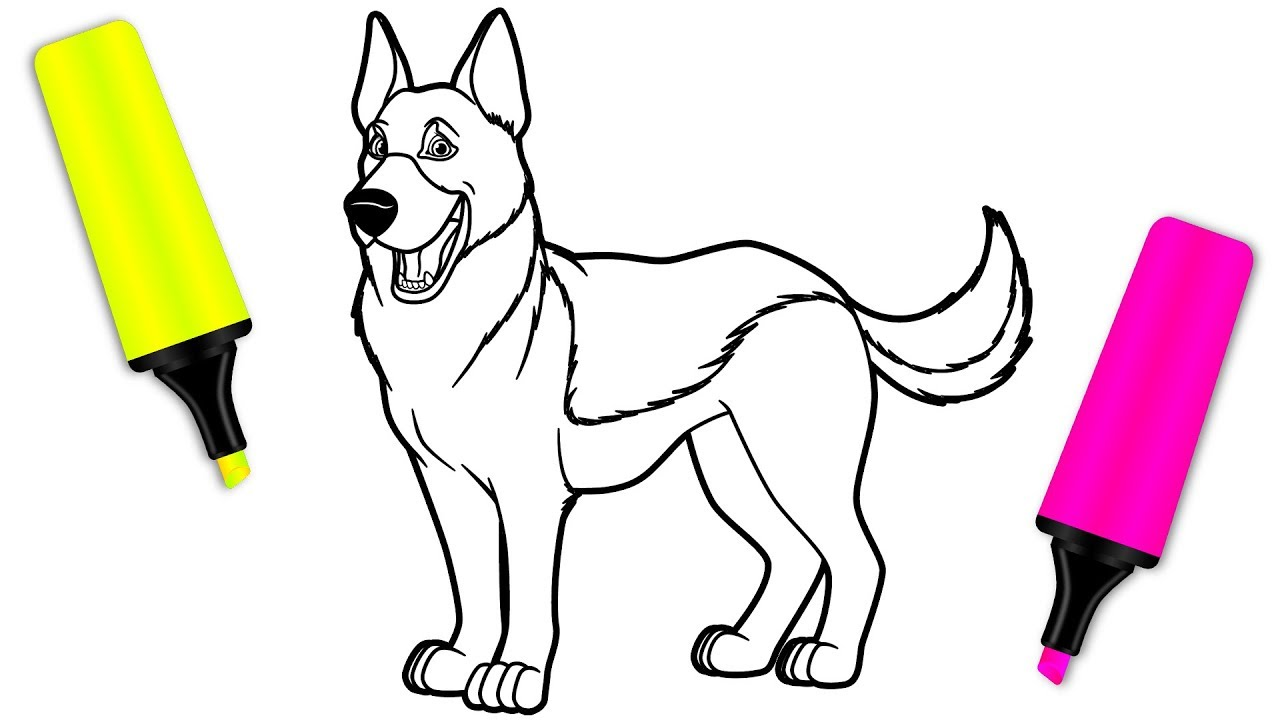 Coloring For Kids With German Shepherd Dog Coloring Pages For Children Youtube