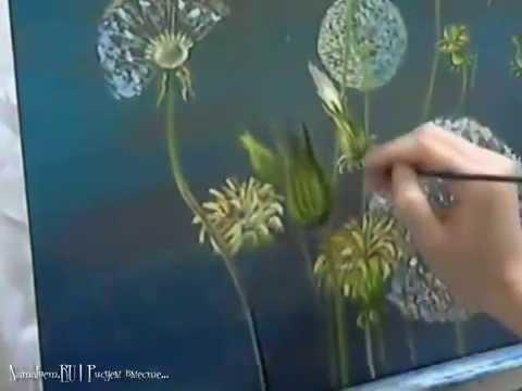 Живопись маслом Одуванчики Oil Painting Dandelions