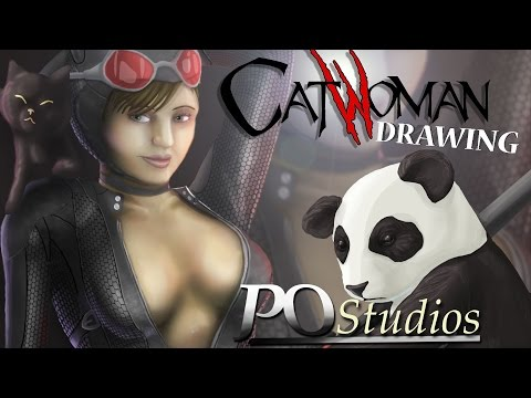 SEXY and AWESOME Catwoman (Selina Kyle) Timelapse Drawing by PO Studios
