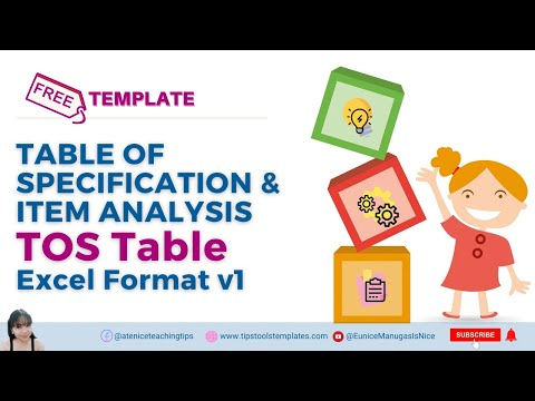 Table Of Specification TOS TABLE Sample Template Excel