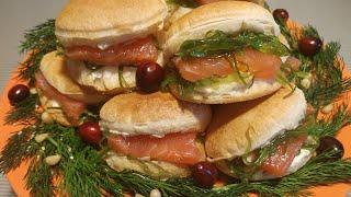 Любимый вариант закуски с красной рыбой и творожным сыром