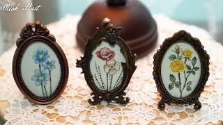 [인테리어 소품] 앤틱 액자 꽃그림 그리기   수채화 …