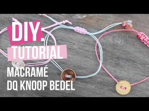 Sieraden maken: Armband met macramédraad en DQ knoop bedel ♡ DIY