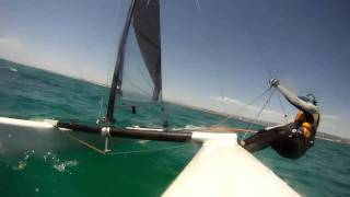 a class catamaran tacking and upwind race