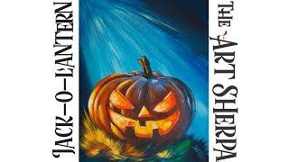 How to paint Acrylic on canvas Spooky pumpkin LIVE  Beginner  art tutorial