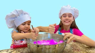 Nastya and Mia want to be like mom prepare pancakes for Artem