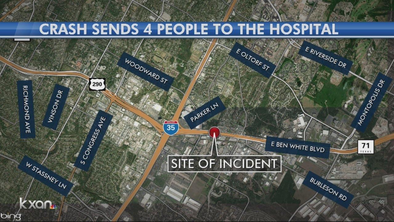 Four injured after car crash on Ben White Boulevard near I-35