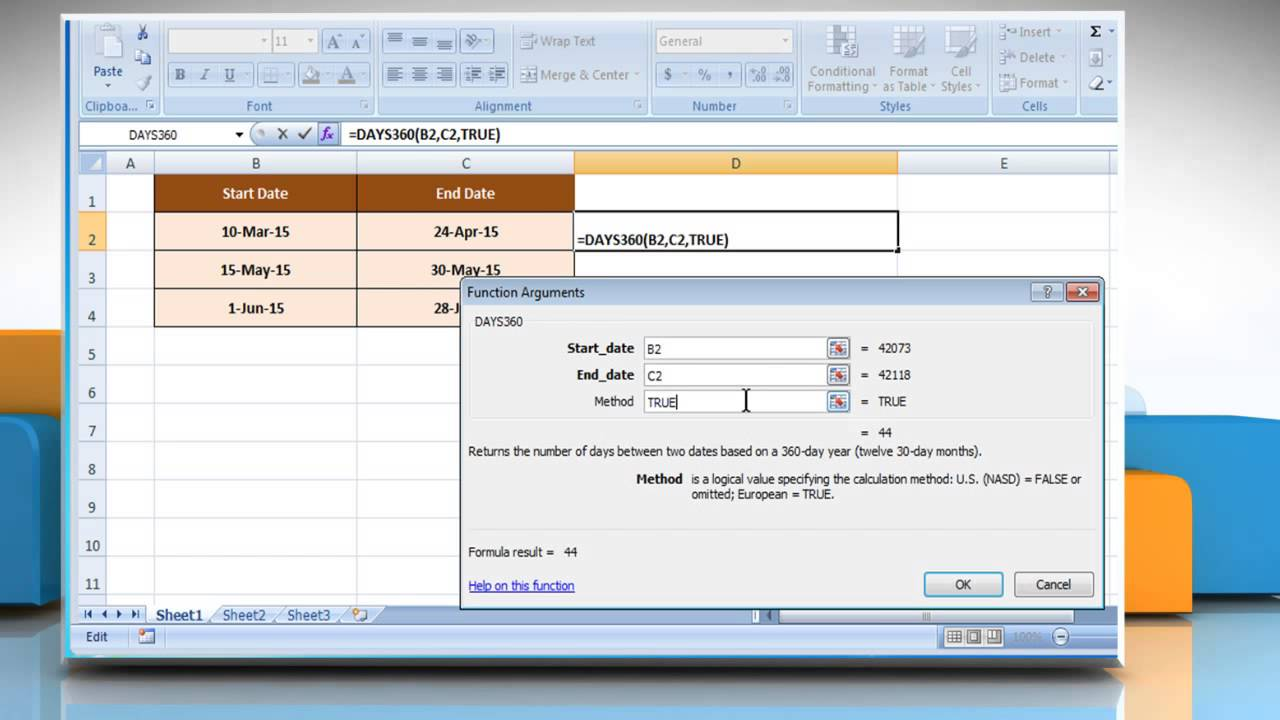 How to use days360 function in excel youtube how to use days360 function in excel ibookread PDF
