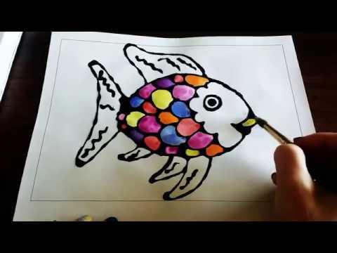 Rainbow Fish Glue Line Drawing & Painting