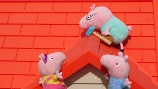 Фото Мультики для малышей. Папа Свин чинит крышу а свинки Пеппа и Джордж ему помогают. КАК НЕ УПАСТЬ