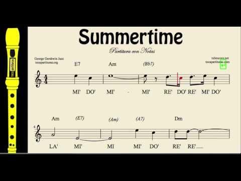 Summertime Easy Sheet Music Notes for Flute