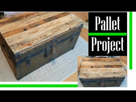DIY Trunk Resurfacing Pallet Wood Project! Cheap and Easy Antique Trunk Restoration!
