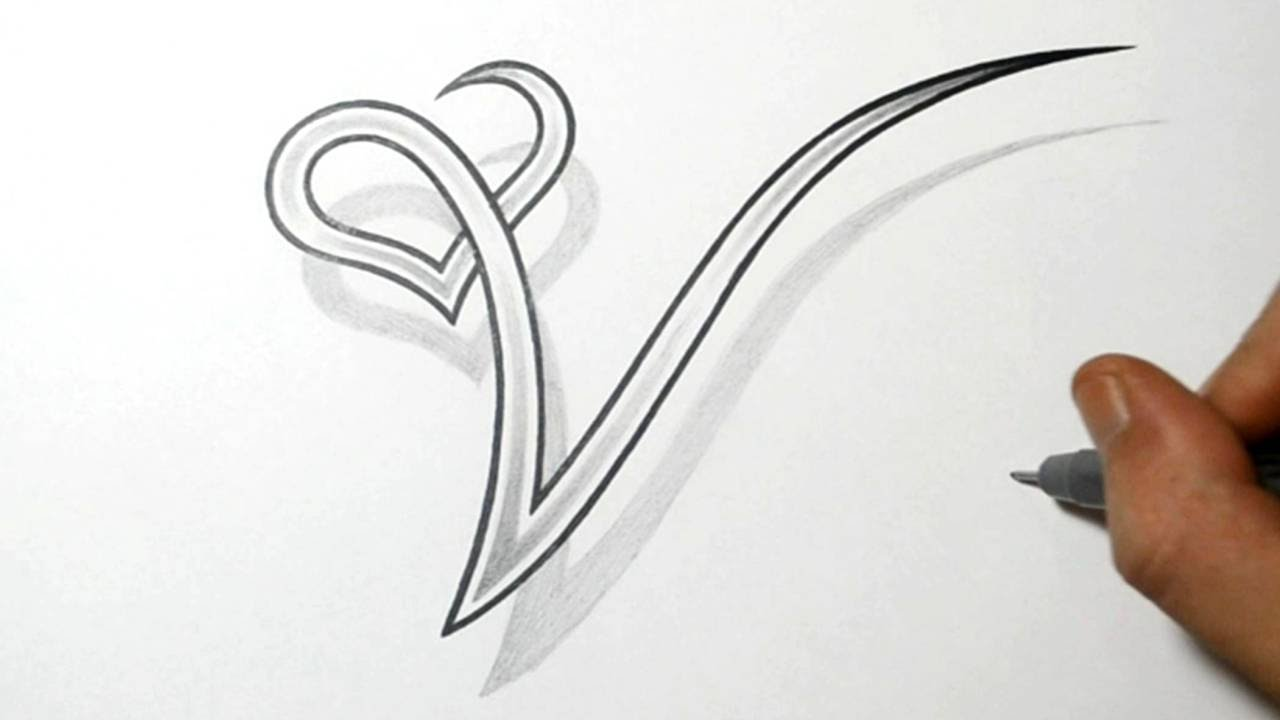 Drawing The Letter V With A Heart Design  Youtube