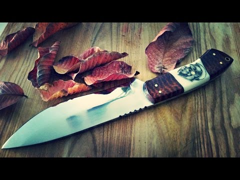 "Knife making How to make a Hunting Knife 7"" blade tooled snake skin leather sheath scrimshaw handle"