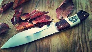 "Knife making - Hunting Knife, 7"" blade, tooled snake skin pattern leather sheath, scrimshaw handle"