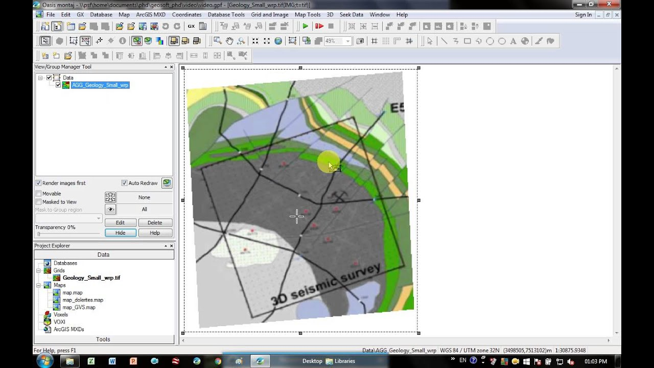 Geosoft - Exporting a geotiff for Google Earth, ArcMap or seismic software