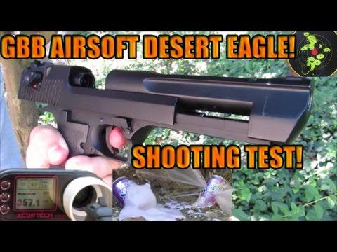(Airsoft)KWC C02 GBB DESERT EAGLE Shooting Test: Chrono/Accuracy/Damage Test!: