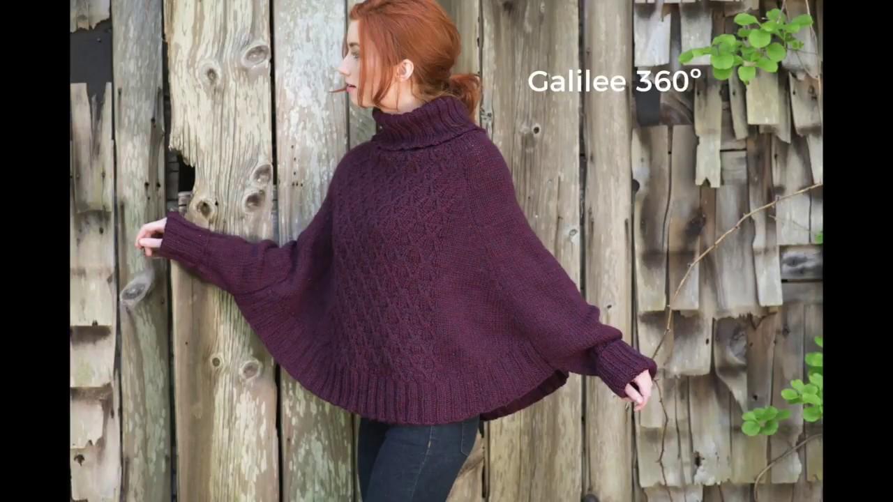 Galilee poncho knitting pattern 360º - YouTube