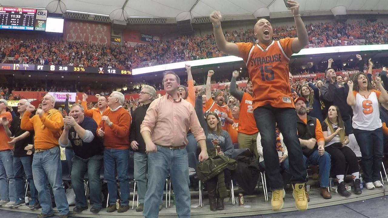 Syracuse Orange Basketball Fans Cheerleaders Cheer Jim Boeheim Onto