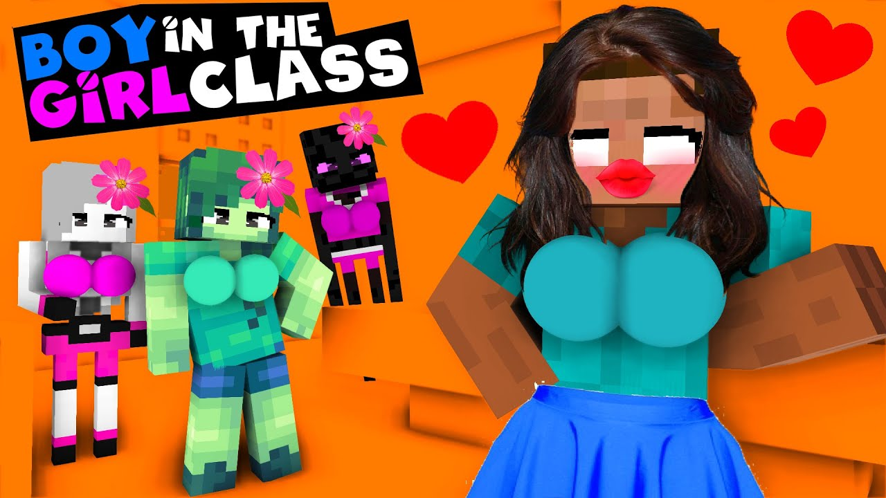 BOY IN THE GIRLS CLASS MONSTER SCHOOL - FUNNY MINECRAFT ANIMATION