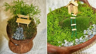zero cost# #how to make miniature garden # # garden making at home # # different gardens# # easy garden making # # coconut miniature garden # # pot ...