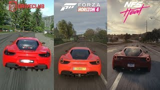 DriveClub vs Forza Horizon 4 vs Need for Speed Heat - Ferrari 488 GTB Sound Comparison
