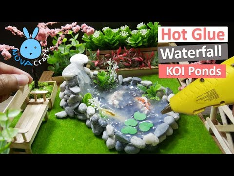 Hot glue waterfall tutorial koi fish ponds awesome hot for Garden pond moulds