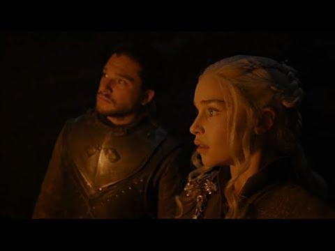Джон Сноу и Дейенерис в пещере. (Игра Престолов 7 сезон 4 серия)
