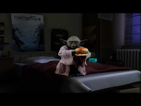 [ASMR] Yoda eats hamburger while my parents fight downstairs