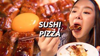 เอาซูชิญี่ปุ่น มาทำเป็นพิซซ่า ได้ด้วยหรอ????