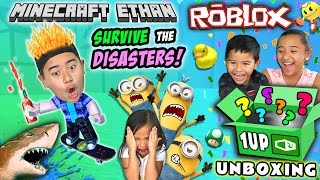 Survive The Disasters ft. Emma, Aubrey & Aaron | Roblox & 1UP Box Unboxing | Minecraft Ethan