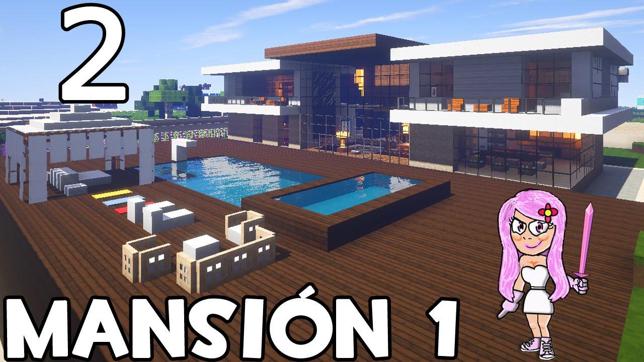Minecraft mansi n 1 parte 2 c mo construir youtube for Casa moderna minecraft mirote y blancana