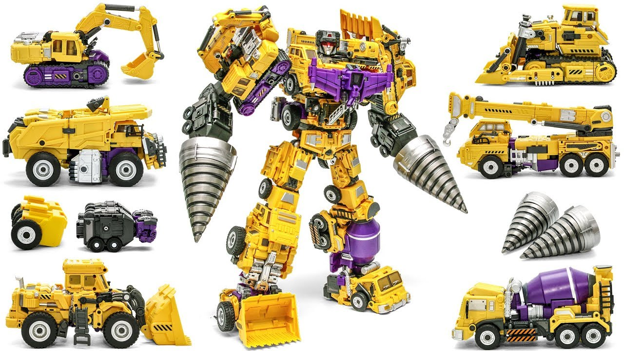 Download Transformers JINBAO G2 Yellow Devastator + Upgrade kit Combine Construction Vehicles Robot Toys
