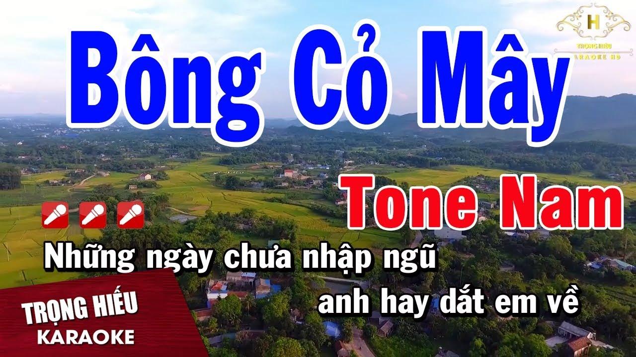 Karaoke Bông Cỏ Mây Tone Nam Nhạc Sống   Trọng Hiếu