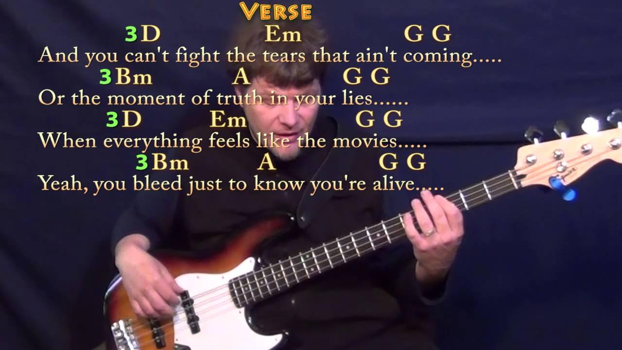Iris Goo Goo Dolls Bass Guitar Cover Lesson With Chordslyrics