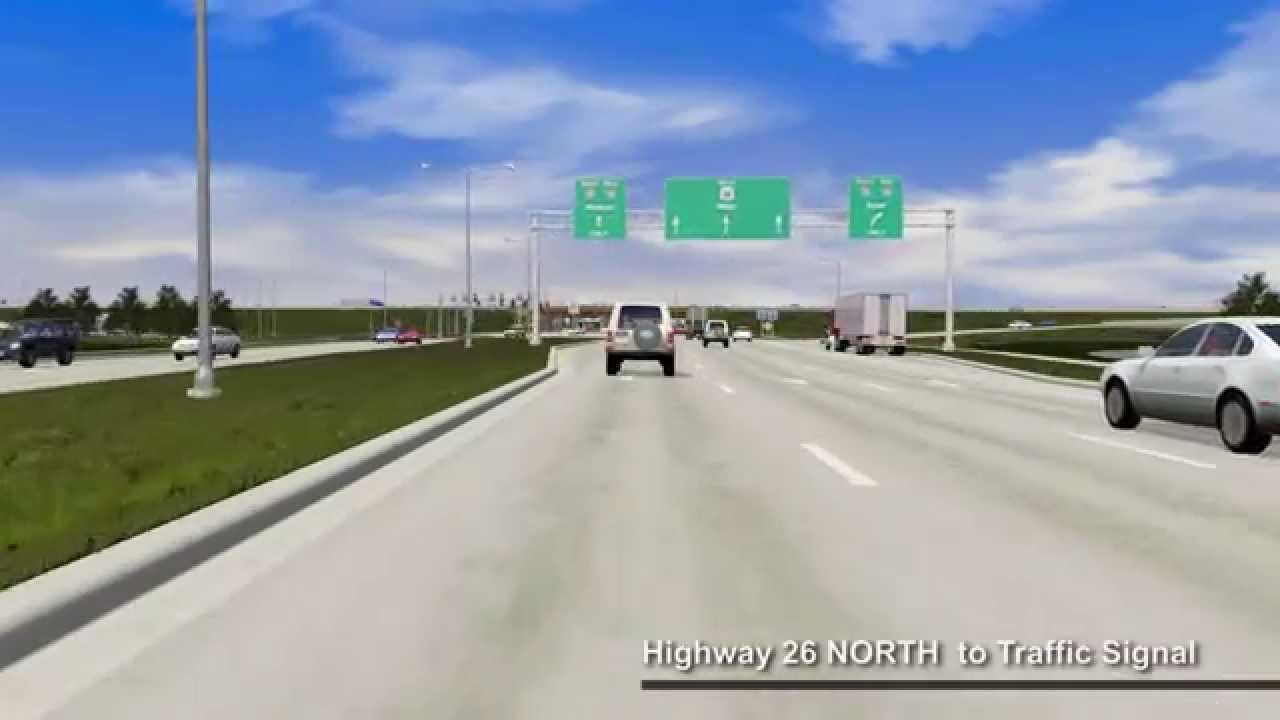 I-39/90 and WIS 26 Diverging Diamond Interchange Animation