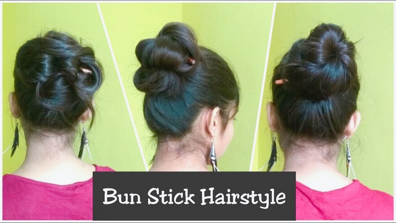 3 Simple Messy Bun Hairstyles With Stick No Pins Rubber Band