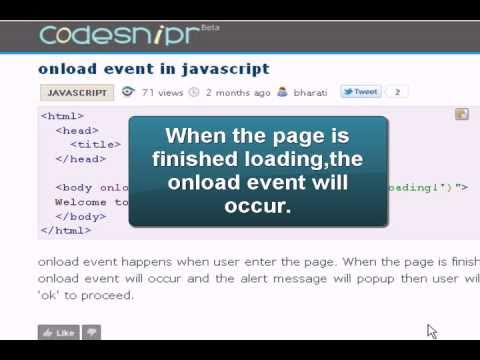 JAVASCRIPT Tutoriral : onload event in Javascript