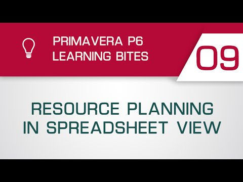 Primavera P6 Learning Bite 9 - Resource Planning in Spreadsheet View (Professional Client)