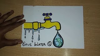 Save Every drop of water- Save water(save me). How to draw save water drawing