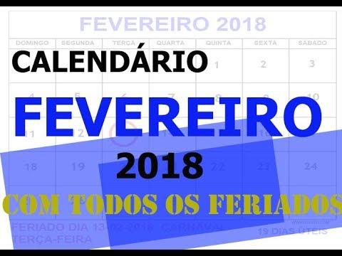 CALENDÁRIO FEVEREIRO 2018 COM FERIADOS - YouTube