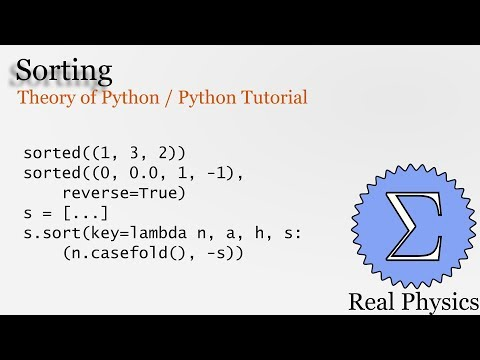 Sorting in Python (Theory of Python) (Python Tutorial) thumbnail