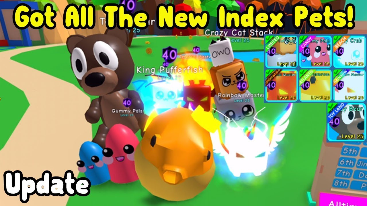 Getting All The New 7 Index Pets Rewards! New Update - Roblox Bubble Gum Simulator